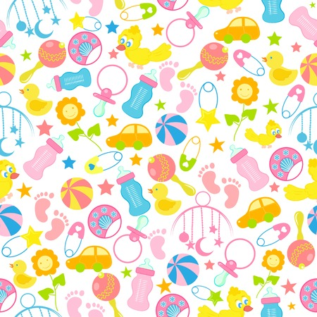 toys pattern: easy to edit vector illustration of baby seamless pattern background