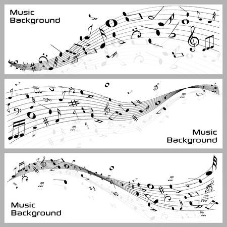 music notes vector: easy to edit vector illustration of wavy music notes banner