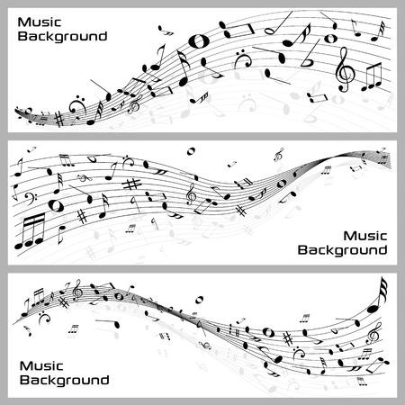 simbolos musicales: f�cil de editar ilustraci�n vectorial de notas musicales ondulado bandera Vectores