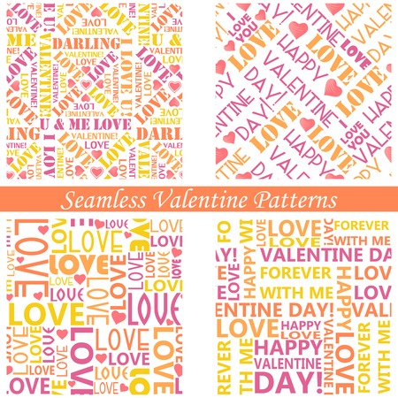 edit valentine: easy to edit vector illustration of typography valentine seamless background Illustration