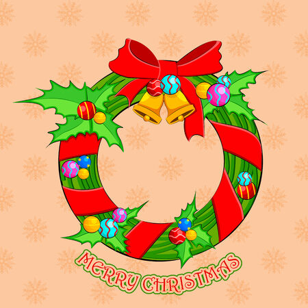 easy to edit vector illustration of Christmas Wreath on snowflakes background Vector