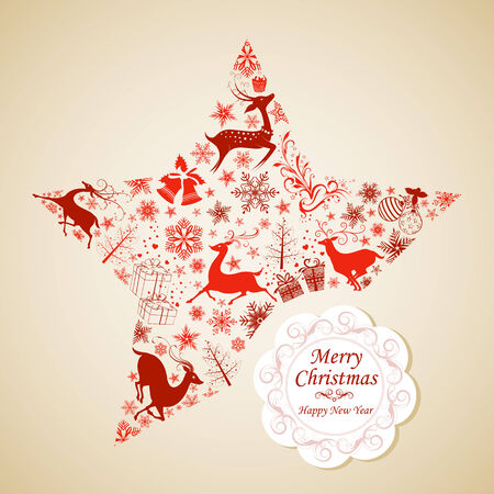 easy to edit vector illustration of Merry Christmas with Reindeer Vector