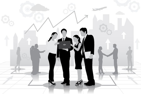 easy to edit vector illustration of successful businessteam planning work Illustration