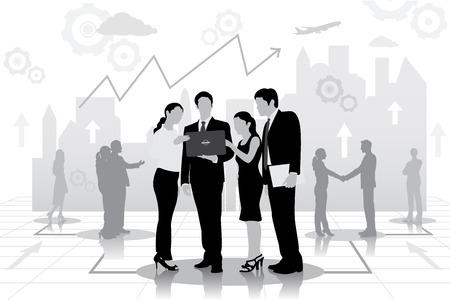 businessteam: easy to edit vector illustration of successful businessteam planning work Illustration