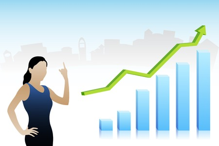 easy to edit vector illustration of business lady showing profit Vector
