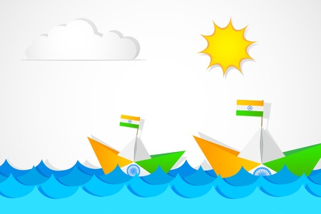 hindustan: easy to edit vector illustration of Paper Boat in Indian Flag color