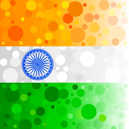 asoka: easy to edit vector illustration of bubbly background in Indian flag color