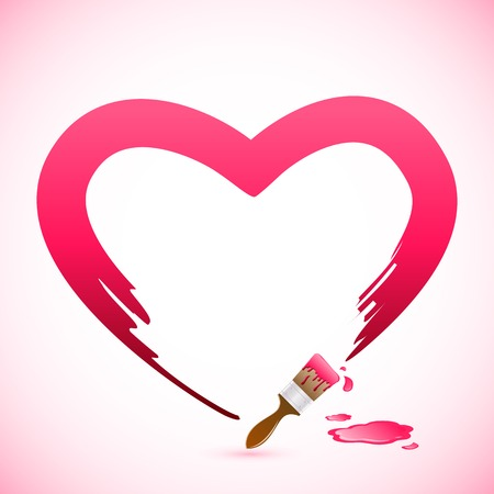 easy to edit vector illustration of brush painting heart shape Vector