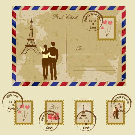 easy to edit vector illustration of couple showing Eiffel Tower on envelope Vector