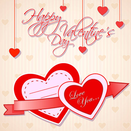 easy to edit vector illustration of love background with glossy heart Vector