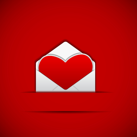 easy to edit vector illustration of heart shape in envelope Vector