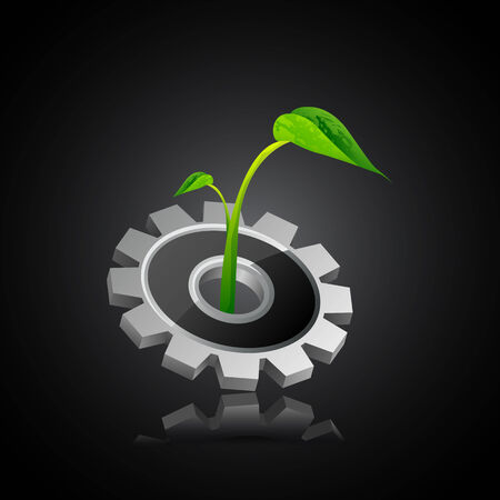 cogs and gears: easy to edit vector illustration of plant on gear