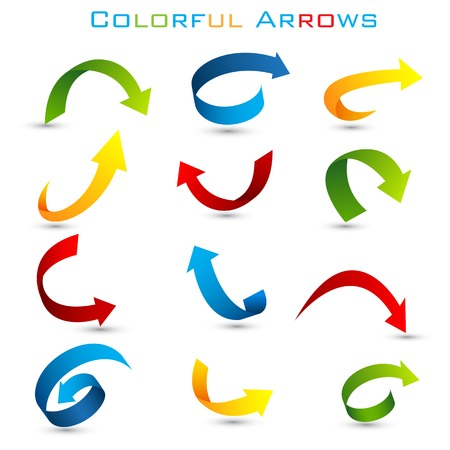 easy to edit vector illustration of set of colorful arrow Banco de Imagens - 25663784