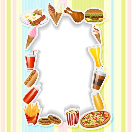 easy to edit vector illustration of fast food in menu card boarder Vector