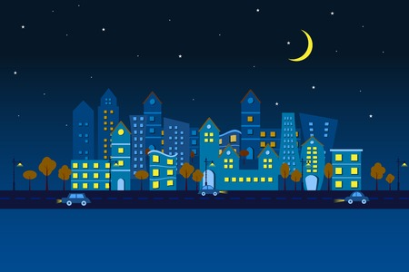 easy to edit vector illustration of cityscape made of paper in night view