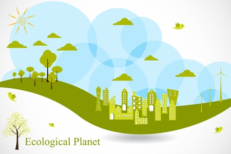 easy to edit vector illustration of ecofriendly city Vector