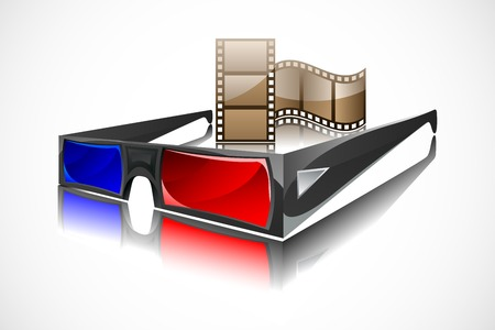 3D glasses: easy to edit illustration of 3d glasses with film reel