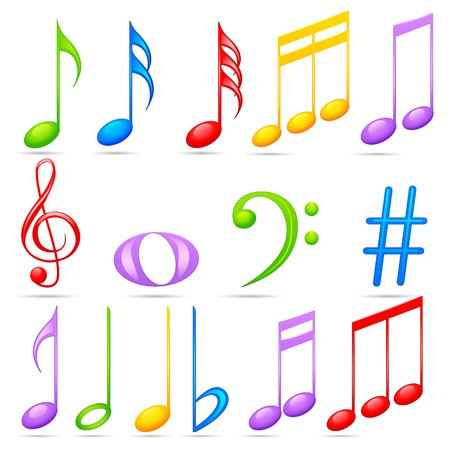 easy to edit vector illustration of music notes Illustration