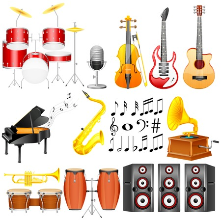 easy to edit vector illustration of Music Instrument collection Vector