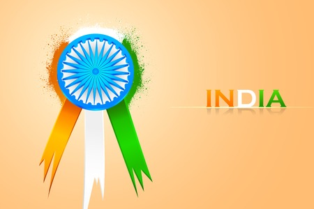 bharat: easy to edit vector illustration of badge for India tricolor flag