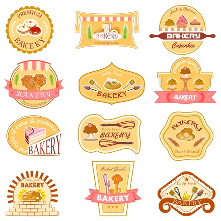 easy to edit vector illustration of bakery label collection Illustration