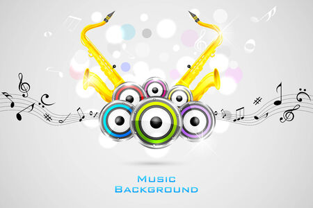 abstract music background: easy to edit vector illustration of abstract music background with saxophone