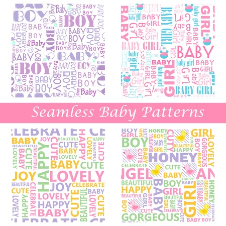 easy to edit vector illustration of baby seamless typography pattern