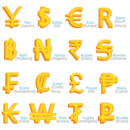 簡単に世界通貨記号のベクター グラフィックを編集するには  イラスト・ベクター素材