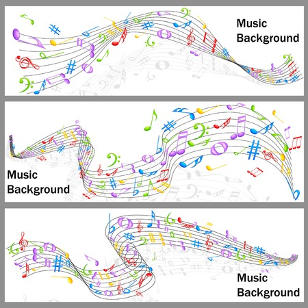 easy to edit vector illustration of wavy music notes banner