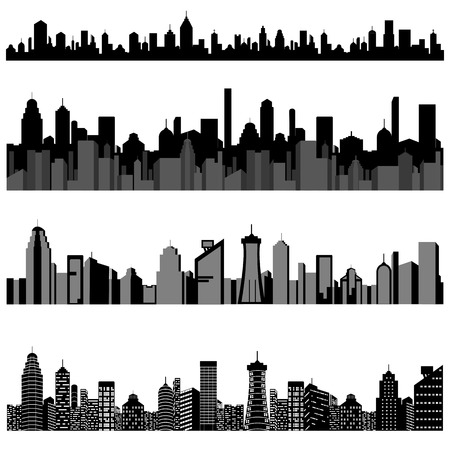 easy to edit vector illustration of cityscape with skyscraper building Vector