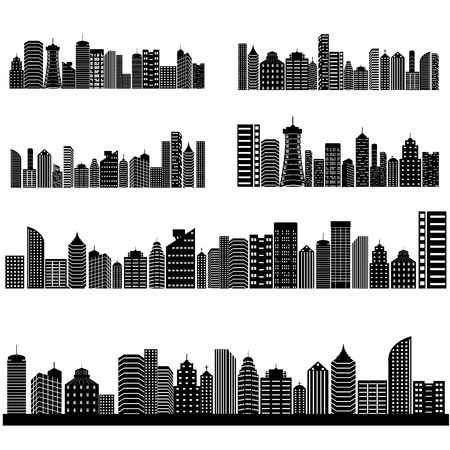 architecture pictogram: easy to edit vector illustration of cityscape with skyscraper building