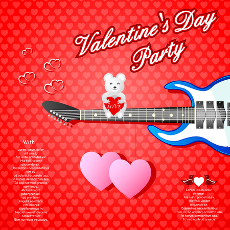 concert poster: easy to edit vector illustration of guitar in Valentines Day background