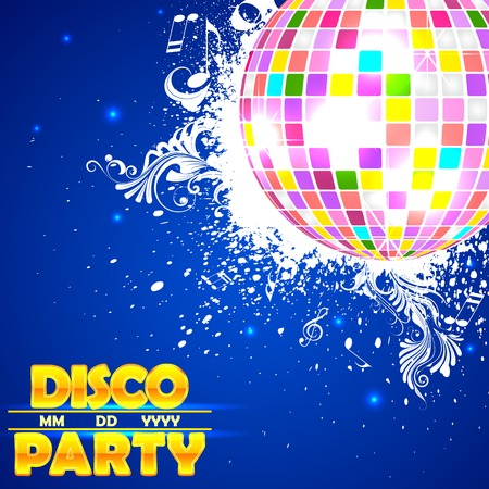 discoball: easy to edit vector illustration of shiny disco ball on abstract background