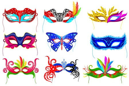 easy to edit vector illustration of colorful party mask Illustration