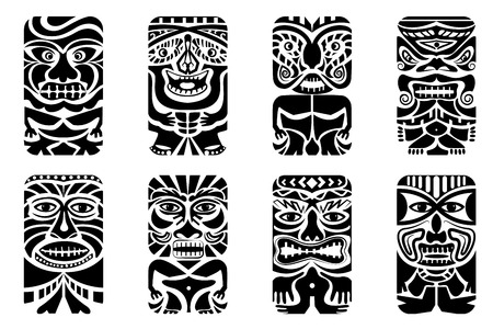 african mask: easy to edit vector illustration of tiki mask