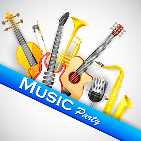 remix: easy to edit vector illustration of abstract music background with instrunment Illustration
