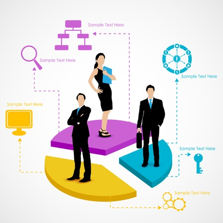 businessperson: easy to edit vector illustration of business people standing over pie chart