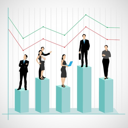 easy to edit vector illustration of successful business team on graph Vector