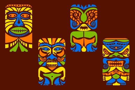 easy to edit vector illustration of tiki mask Vector