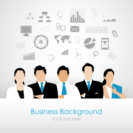 workshop seminar: easy to edit vector illustration of team with business planning