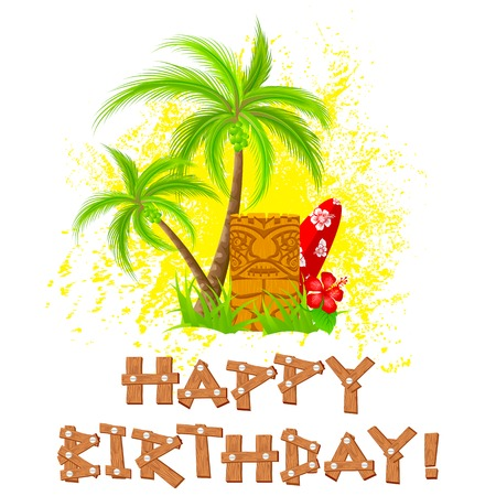 hawaiian culture: easy to edit vector illustration of tiki happy birthday Illustration