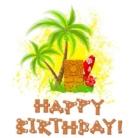 easy to edit vector illustration of tiki happy birthday Illustration