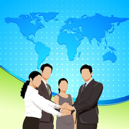 easy to edit vector illustration of business people standing in front of world map