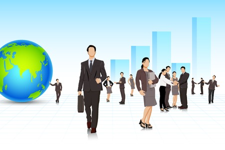 corporate people: easy to edit vector illustration of business people with building backdrop