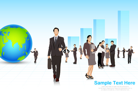 business woman standing: easy to edit vector illustration of business people with building backdrop