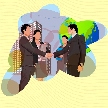 businessperson:  illustration of handshake with business team showing business partnership
