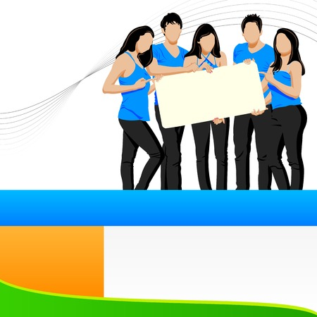 endorsement: illustration of group of young friends holding blank placard