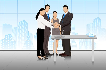 easy to edit vector illustration of business deal in office with business people Vettoriali