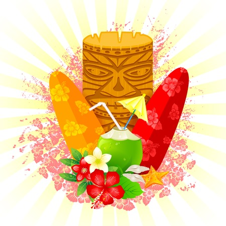 tiki party: easy to edit vector illustration of tiki mask with surfboard