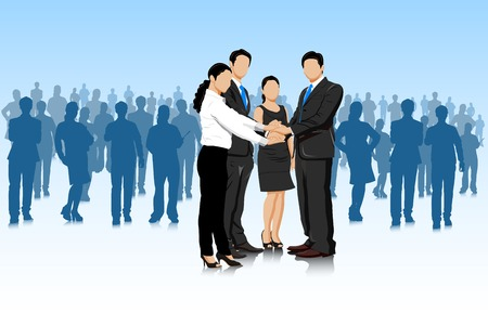easy to edit vector illustration of business deal with businesspeople